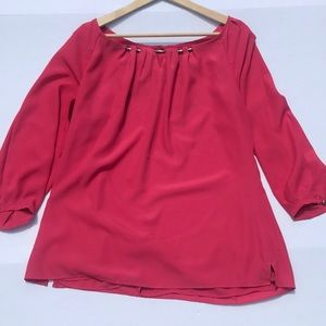 White House Black Market Coral Lined Blouse